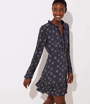LOFT Petite Scattered Dot Split Neck Dress