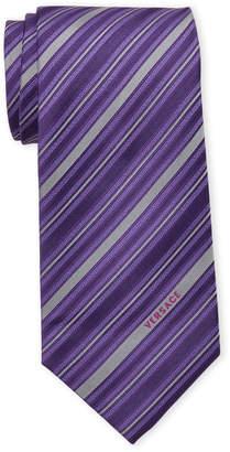 Versace Purple & Grey Silk Striped Tie