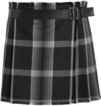 Alexander McQueen - Pleated Checked Silk And Wool-blend Wrap Mini Skirt - Black $1,895 thestylecure.com