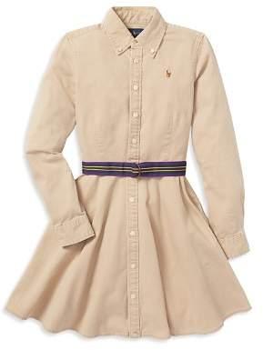 Ralph Lauren Girls' Chino Shirt Dress with Belt - Little Kid
