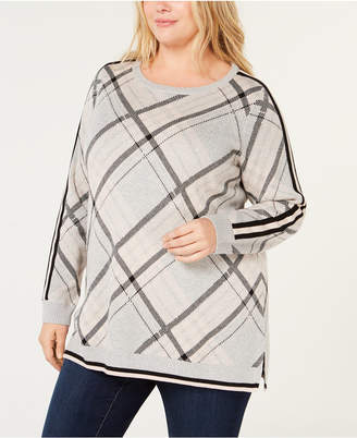 Charter Club Plus Size Plaid Sweater
