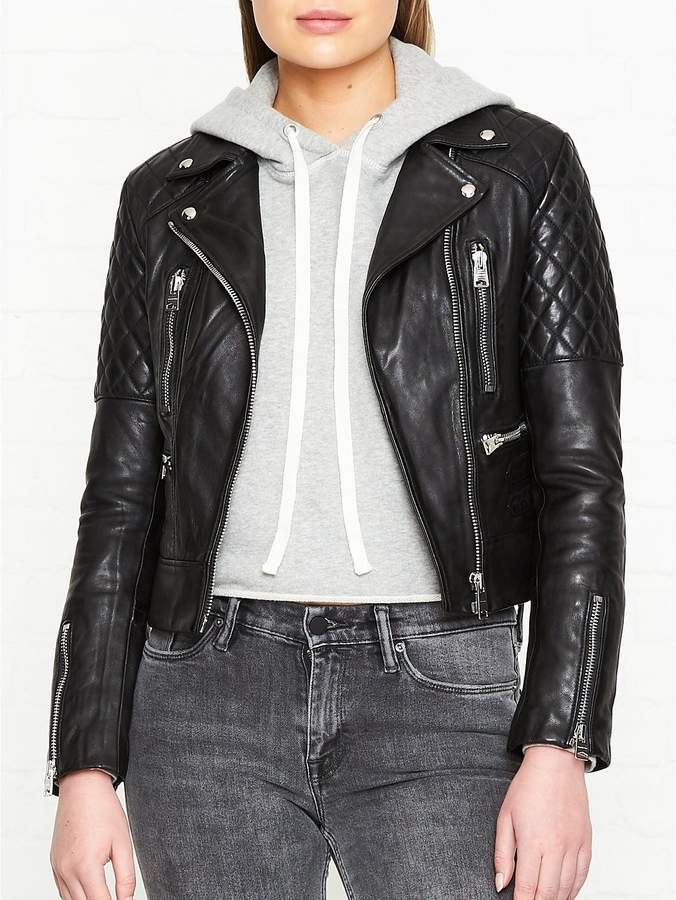 Nysa Quilted Leather Biker Jacket