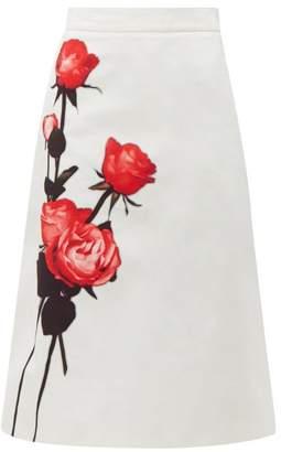 Prada Divisa A Line Cotton Midi Skirt - Womens - White Print
