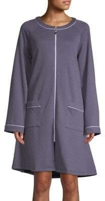 Eileen West Cotton-Blend Zip-Up Robe