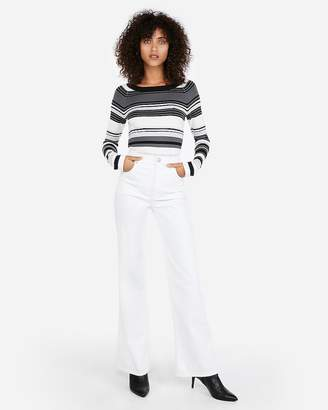 Express Striped Bateau Neck Fitted Sweater