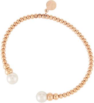 Majorica Rose Golden Bangle Bracelet w/ Pearl Ends