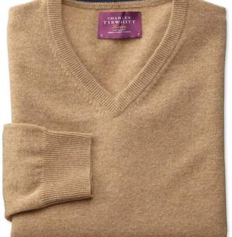 Charles Tyrwhitt Tan cashmere v-neck jumper
