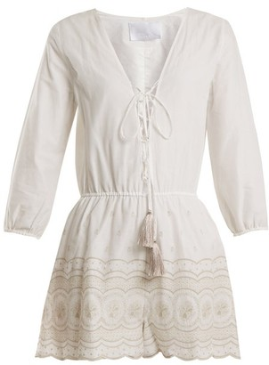 Athena Procopiou - Sunday Morning Lace Up Cotton Playsuit - Womens - Ivory