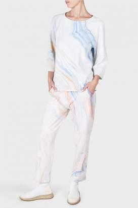 Raquel Allegra Purple Waves Marble Print French Terry Raglan 3/4 Sleeves Top
