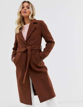 New Look tailored belted coat in rust