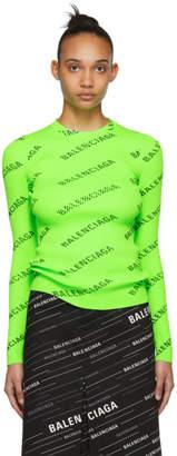 Balenciaga Green Allover Logo Sweater