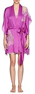 Carine Gilson Women's Lace-Trimmed Silk Short Robe - Magnolia, creamrosénacre
