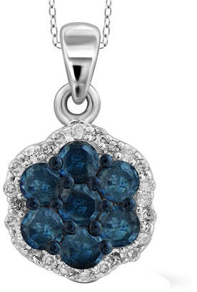 FINE JEWELRY 1/4 CT. T.W. White & Color-Enhanced Blue Diamond Cluster Sterling Silver Pendant