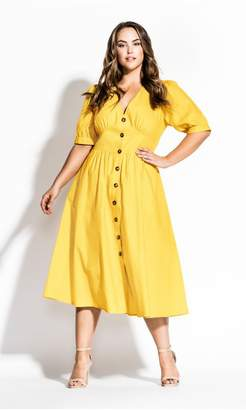 City Chic Citychic Sunset Stroll Dress - sunshine