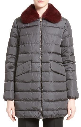 MonclerWomen's Moncler 'Indis' Water Resistant Down Puffer Coat With Removable Genuine Mink Collar