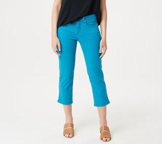 NYDJ Skinny Capri Jeans with Side Slits -Turquoise