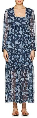 Raquel Allegra Women's Floral Silk Tiered Maxi Dress