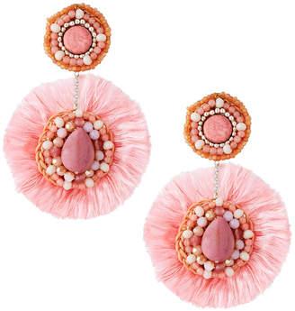 Nakamol Double Bead & Fringe Circle Drop Earrings