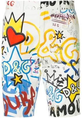 Dolce & Gabbana Dubai graffiti print Bermuda shorts