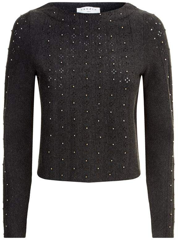 Bead Detail Cropped Sweater