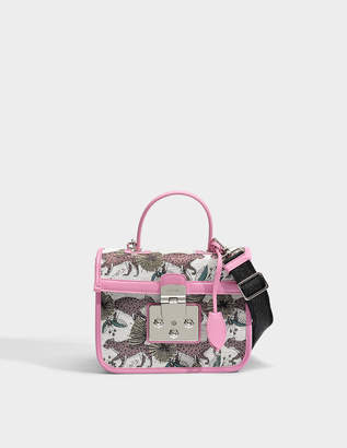 Furla Fenice Small Top Handle Bag in Multicolour Cotton