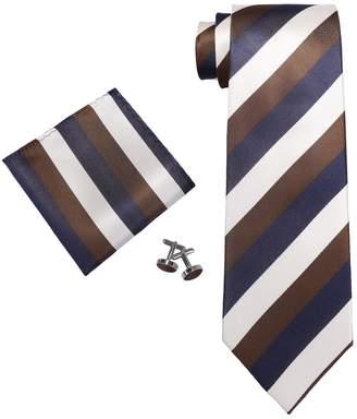 Landisun SILK Stripes Mens SILK Tie Set: Necktie+Hanky+Cufflinks