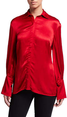 Natori Crinkle Satin Button-Down Long-Sleeve Blouse