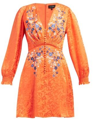 Saloni Eve Floral Jacquard Silk Mini Dress - Womens - Orange Multi