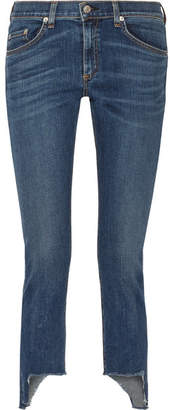 rag & bone - The Capri Distressed Mid-rise Skinny Jeans - Blue $245 thestylecure.com