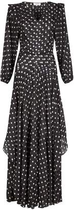 NASON - Miller Black Silk-Blend Spot Maxi Dress