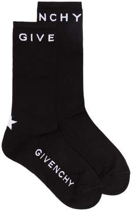 Givenchy black star logo intarsia cotton blend socks