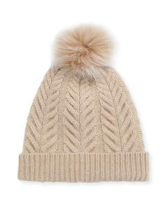 Sofia Cashmere Staghorn Cable Knit Hat w/ Fur Pompom, Beige