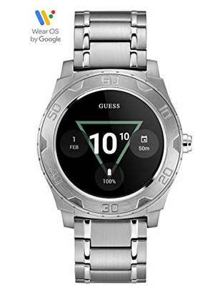 GUESS Men's Stainless Steel Android Wear Touch Screen Bracelet Watch
