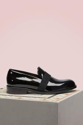 J.M. Weston Patent black calf leather loafers