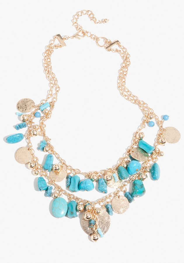 Bebe Turquoise Coin Layered Necklace