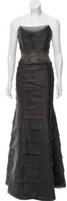 Roland Nivelais Silk Beaded Gown Grey Roland Nivelais Silk Beaded Gown