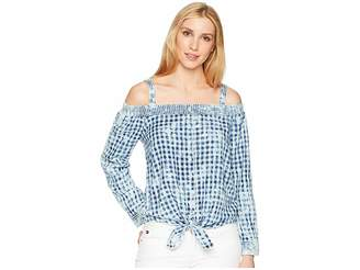 Tribal Cotton Tie Front Off Shoulder Shirt Women's Clothing