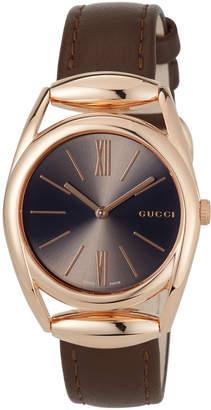 Gucci 34mm Horsebit Watch w/ Calfskin Strap, Rose Golden/Brown