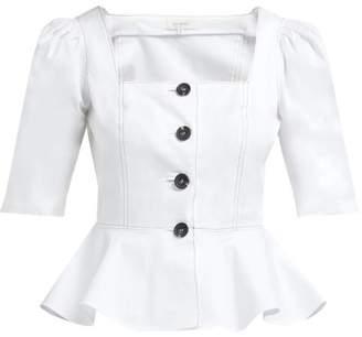 Isa Arfen Ponza Peplum Hem Cotton Blend Top - Womens - Ivory