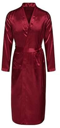 Susan1999 Back Men's Satin Rayon Robe Gown Soid Coor Kimono Bath Gownounge Casua Nightgown Seepwear Homewear