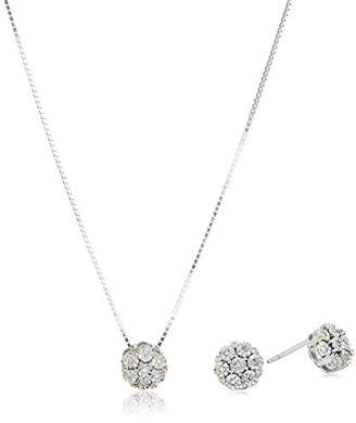"Sterling Silver Diamond Two Tone Stud Earrings and 18"" Pendant Necklace Set (1/10 cttw"