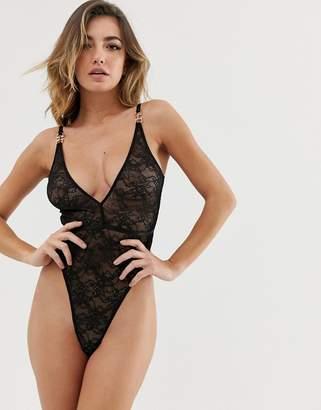 Asos Design DESIGN Elle Delicate lace strappy back bodysuit