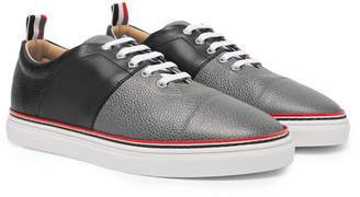 Thom Browne Color-Block Smooth And Pebble-Grain Leather Sneakers