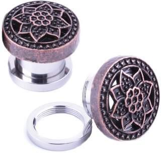 BodyJ4You Plugs Ear Gauges Rose Gold Tribal Flower Lotus Screw Fit 00G 10mm Piercing Jewelry