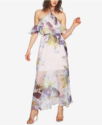 CeCe Printed Cold-Shoulder Maxi Dress