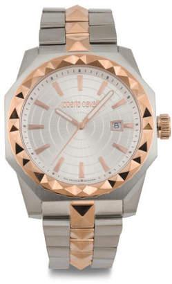 Men's Swiss Made Pyramid Bezel Two Tone Bracelet Watch