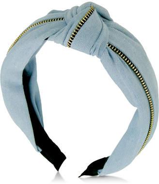 GUESS Denim Knotted & Zippered Headband