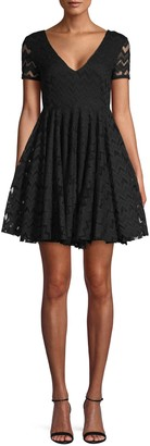 Sandro Chevron Lace Mini Flare Dress