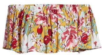 Leith Floral Ruffle Tube Top