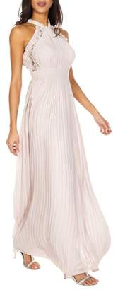 TFNC Dousha Pleated Halter Gown
